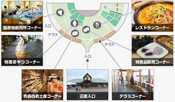 青森県鶴田町産のお米やスチューベンを使用したオリジナルスイーツや大福、ラーメンや餃子など他にはない商品を販売!どんぶりソフトクリームや農家さん選りすぐりの農産物と農産物加工品の直売所、テラスもあります。